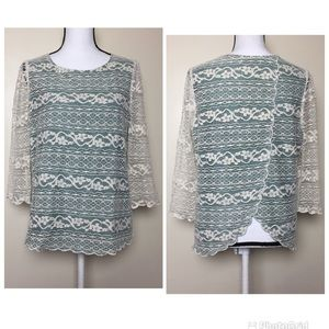 anthropologiet Comme Toi Sage Green Ivory Lace Top